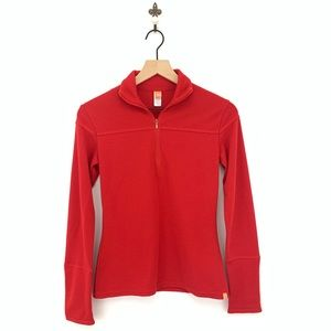 Lucy Red Long Sleeve Half Zip Pullover Top XS